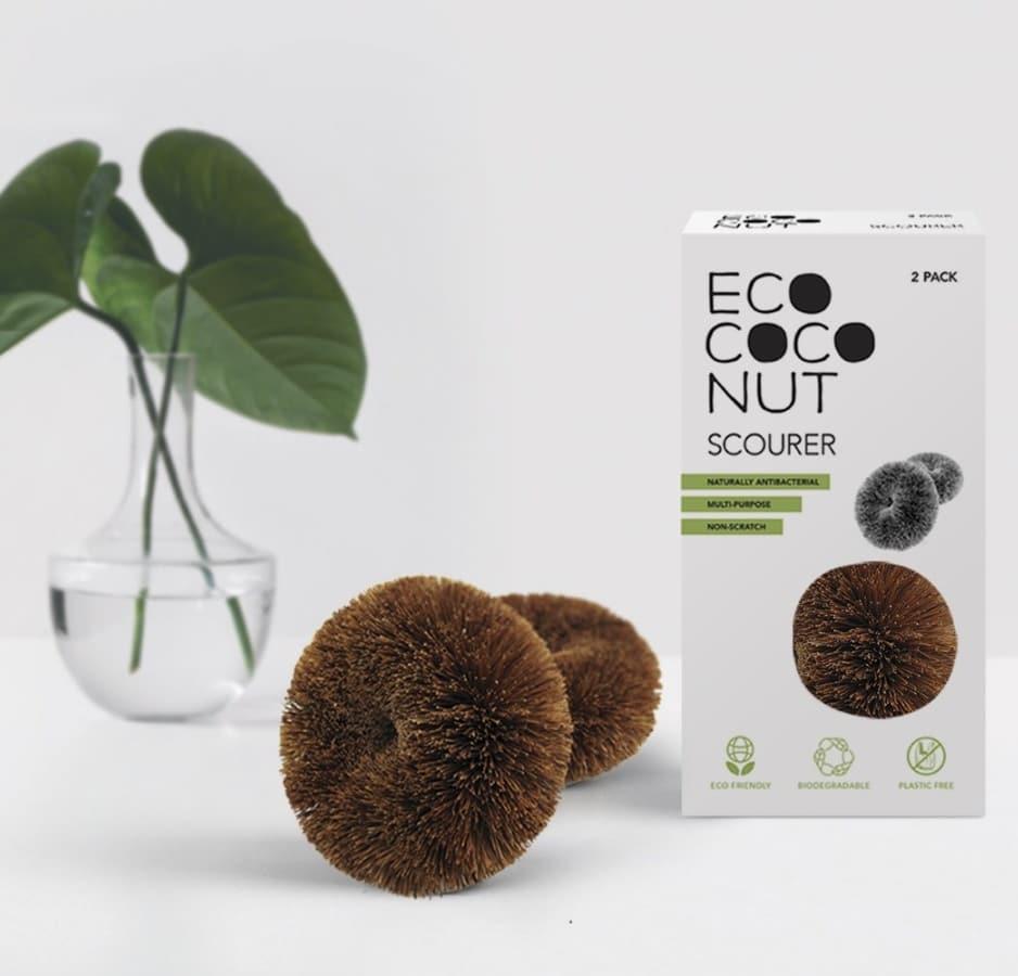 EcoCoconut naravna gobica za pomivanje in čiščenje iz kokosa – 2 kosa